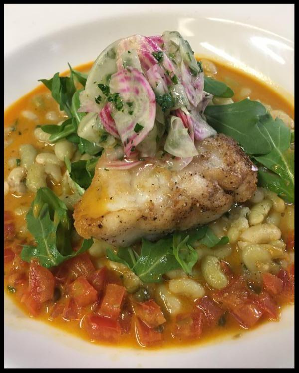 Pan Roasted Monkfish with Heirloom Beans and Blood Orange Nage